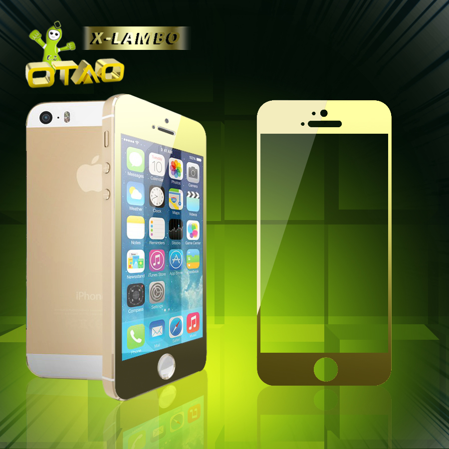 الصورة: X-LAMBO Tempered Glass Film GOLD 9H for iPhone 5 , 5C and 5S