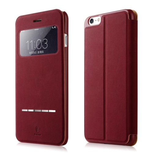 الصورة: BASEUS Terse Lesther Case for iPhone 6 Plus / 6s Plus 5.5 Inch - Wine Red