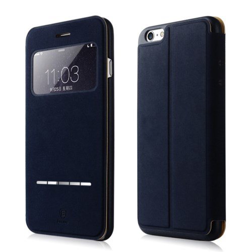 الصورة: BASEUS Terse Lesther Case for iPhone 6 Plus / 6s Plus 5.5 Inch -Dark Blue