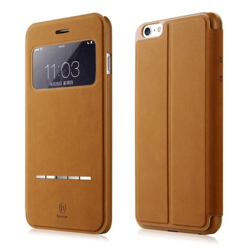الصورة: BASEUS Terse Lesther Case for iPhone 6 Plus / 6s Plus 5.5 Inch - Brown