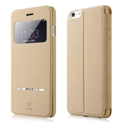 الصورة: BASEUS Terse Lesther Case for iPhone 6 Plus / 6s Plus 5.5 Inch - Champagne