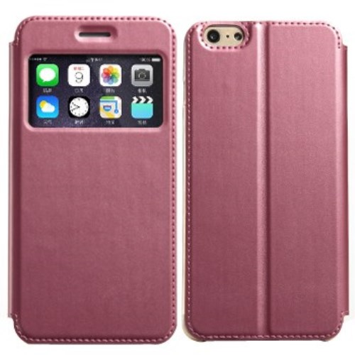 الصورة: KLD View Window Leather Cover with Stand for iPhone 6 & 6S Pink