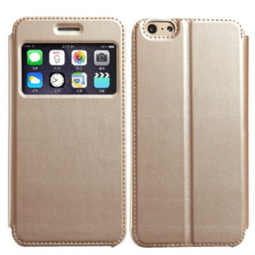 الصورة: KLD View Window Leather Cover with Stand for iPhone 6 & 6S Gold