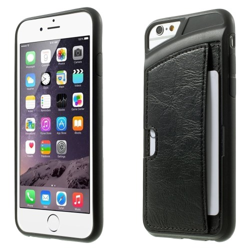 الصورة: Leather Skin with Card Slot TPU Gel Case For iPhone 6 Plus / 6s Plus 5.5-inch- Black