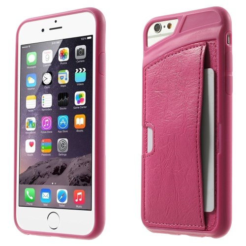 الصورة: Leather Skin with Card Slot for iPhone 6 Plus / 6s Plus TPU Gel Case - Rose