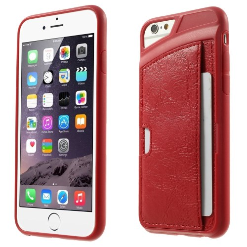 الصورة: Leather Skin with Card Slot for iPhone 6 Plus / 6s Plus TPU Gel Case - Red