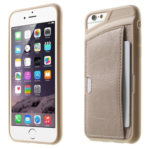 الصورة: Leather Skin Coated TPU Case Card Slot for iPhone 6 Plus / 6s Plus - Beige