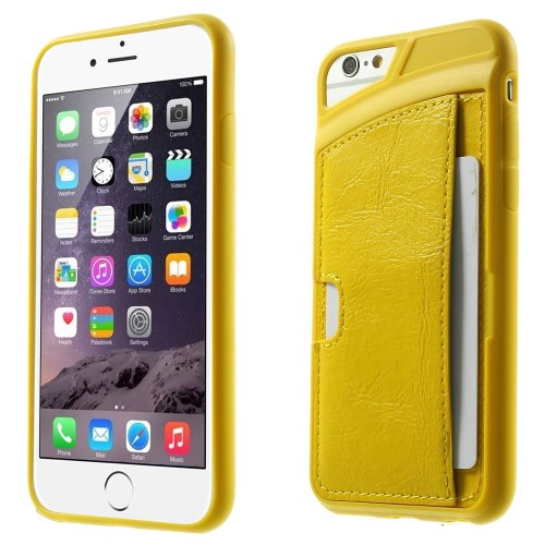 الصورة: Leather Coated TPU Shell Case w/ Card Holder for iPhone 6 Plus / 6s Plus - Yellow