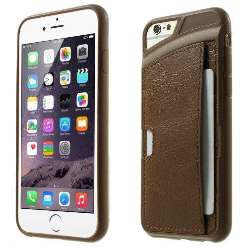 الصورة: Leather Coated TPU Shell Case for iPhone 6 Plus / 6s Plus w/ Card Holder - Brown