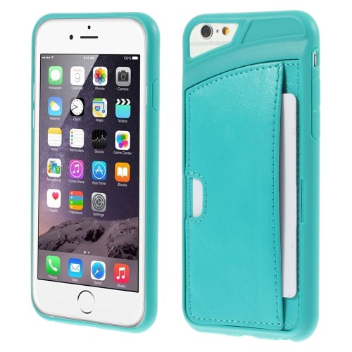 الصورة: Leather Coated TPU Case for iPhone 6 Plus / 6s Plus w/ Card Holder - Blue