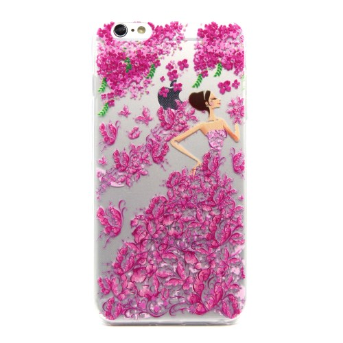 الصورة: Embossed Pattern Back TPU Cover for iPhone 6 Plus / 6s Plus - Pretty Girl in Rose Flower Dress