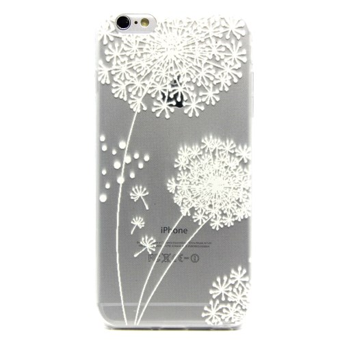 الصورة: Embossed Pattern Flex Gel TPU Cover for iPhone 6 Plus / 6s Plus / 6s Plus / 6s Plus - White Dandelion