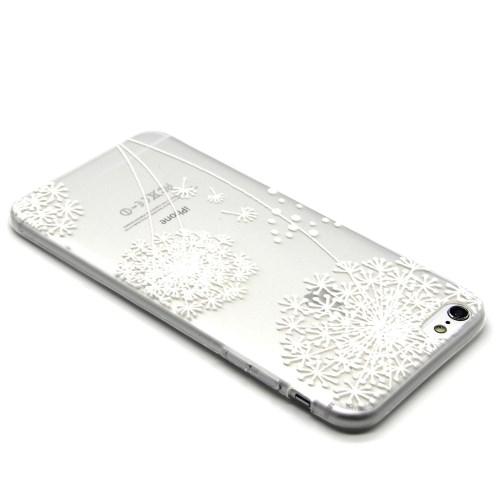 Embossed Pattern Flex Gel TPU Cover for iPhone 6 Plus / 6s Plus / 6s Plus /  6s Plus - White Dandelion