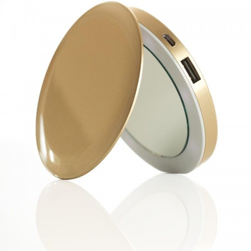 Picture of PEARL COMPACT MIRROR+USB 3000MAH GOLD